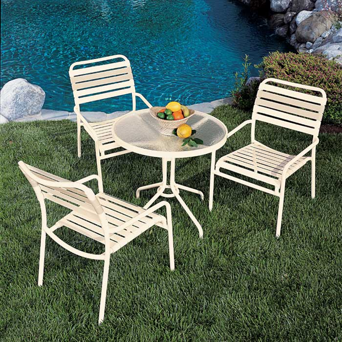 outdoor strap table and chairs - Tropitone Patio Furniture