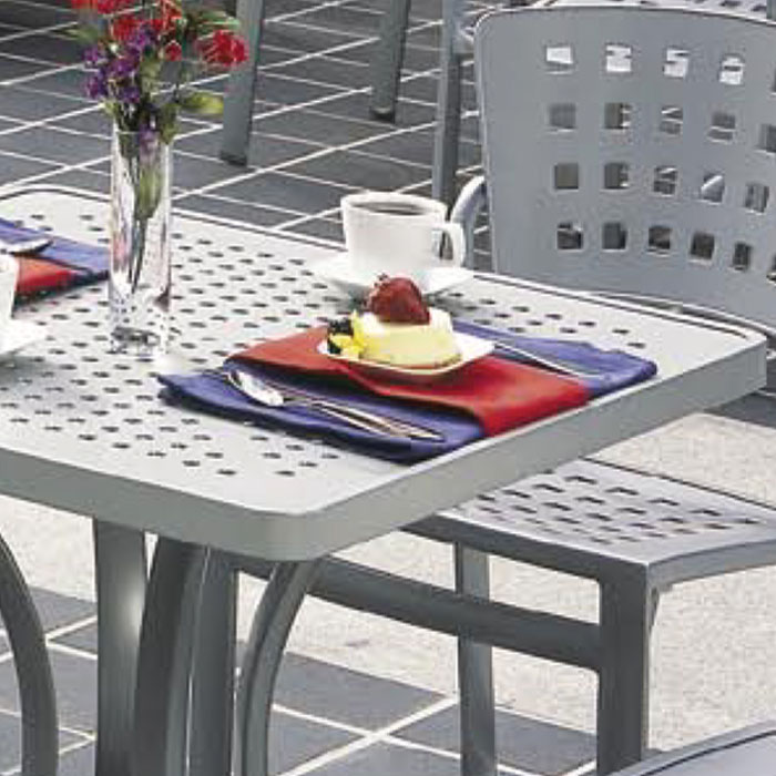 patterned aluminum tables – boulevard | aluminum table | tropitone