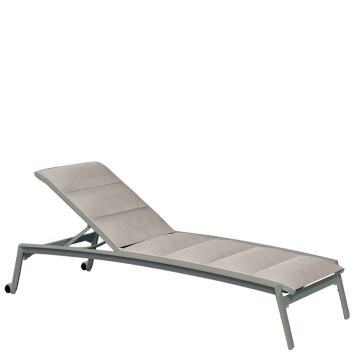 Elance Padded Sling Chaise Lounge With Wheels Tropitone
