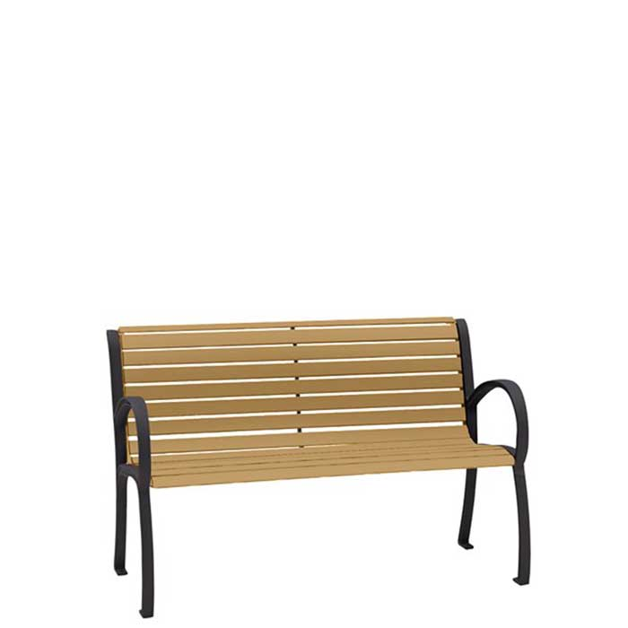 Astounding District 4 Bench With Back And Arms Faux Wood Slat Gmtry Best Dining Table And Chair Ideas Images Gmtryco