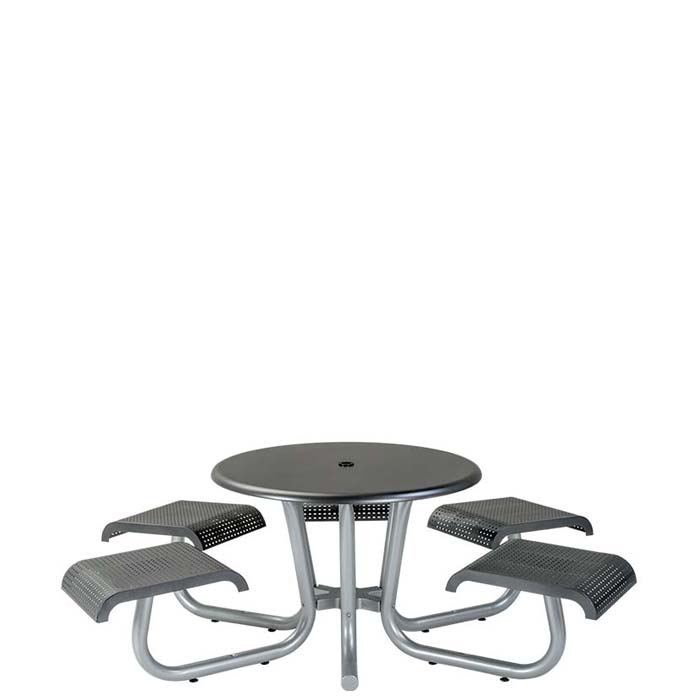Round Picnic Table With Seats ADA Compliant Square Pattern - White round picnic table