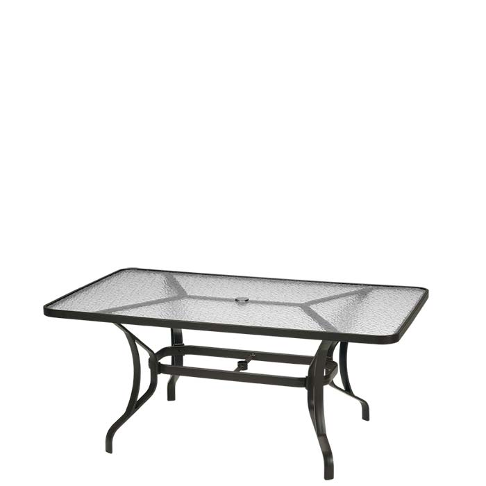 Obscure Glass 66 x 40 Rectangular KD Dining Umbrella Table Tropitone