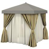 Aluminum Cabana, 8' Square w/ Fabric Curtains, Sheer Curtain Rods (no vent)