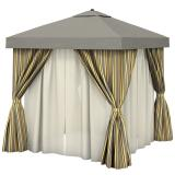 Aluminum Cabana, 8' Square w/ Fabric Curtains, Sheer Curtain Rods & Vent