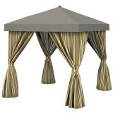 Aluminum Cabana, 12' Square w/ Fabric Curtains (no vent)