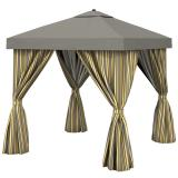 Aluminum Cabana, 12' Square w/ Fabric Curtains & Vent