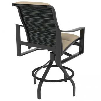 Kenzo Padded Sling Swivel Bar Stool Outdoor Patio Furniture Tropitone