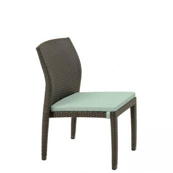 patio woven side chair with seat pad